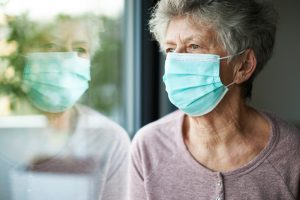 senior woman with face mask